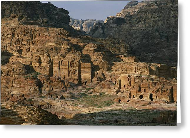 The Caves And Tombs Of Petra, Shown Greeting Card by Annie Griffiths
