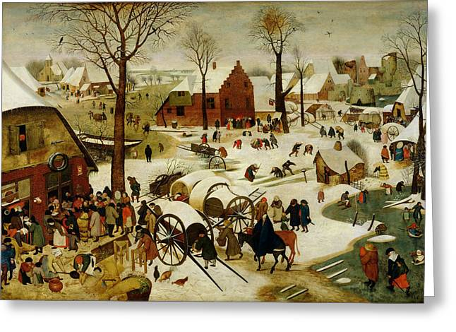 Skating Paintings Greeting Cards - The Census at Bethlehem Greeting Card by Pieter the Younger Brueghel