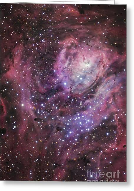 Interstellar Space Greeting Cards - The Central Region Of The Lagoon Nebula Greeting Card by R Jay GaBany