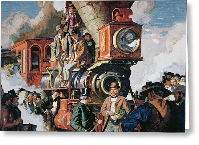 Engine Paintings Greeting Cards - The Ceremony of the Golden Spike on 10th May Greeting Card by Dean Cornwall