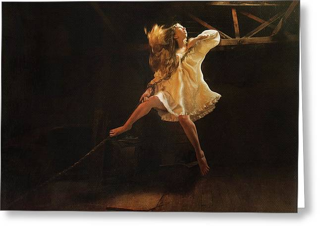 Floating Girl Greeting Cards - The Chains That Bind Greeting Card by Heather Kallhoff