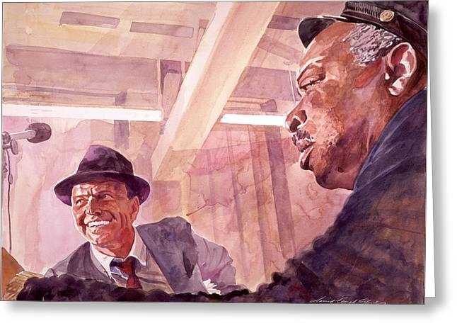 People Paintings Greeting Cards - The Chairman Meets the Count Greeting Card by David Lloyd Glover