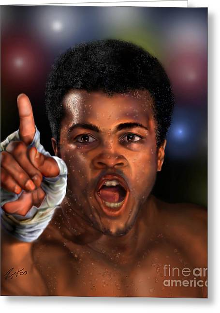 African-american Paintings Greeting Cards - The Champ Is Here -period Greeting Card by Reggie Duffie