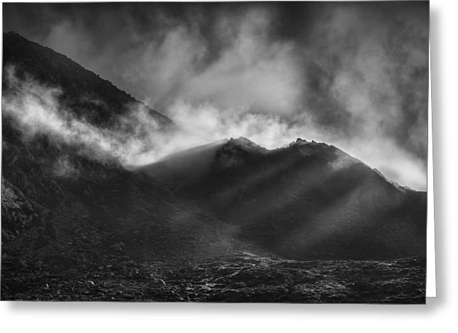 Crepuscular Rays Greeting Cards - The Chancel in Black and White Greeting Card by Andy Astbury