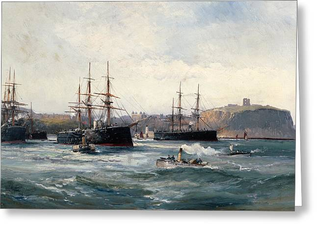 Tug Greeting Cards - The Channel Fleet off Scarborough Greeting Card by William Lionel Wyllie