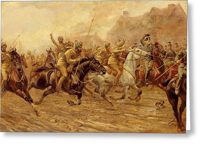 Wwi Paintings Greeting Cards - The charge of the Bengal Lancers at Neuve Chapelle Greeting Card by Derville Rowlandson