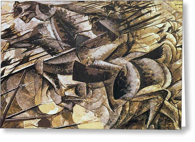Futurist Greeting Cards - The Charge of the Lancers Greeting Card by Umberto Boccioni