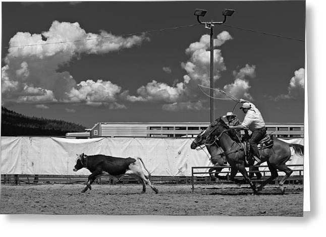 Cowboys Greeting Cards - The chase for time Greeting Card by Scott Sawyer