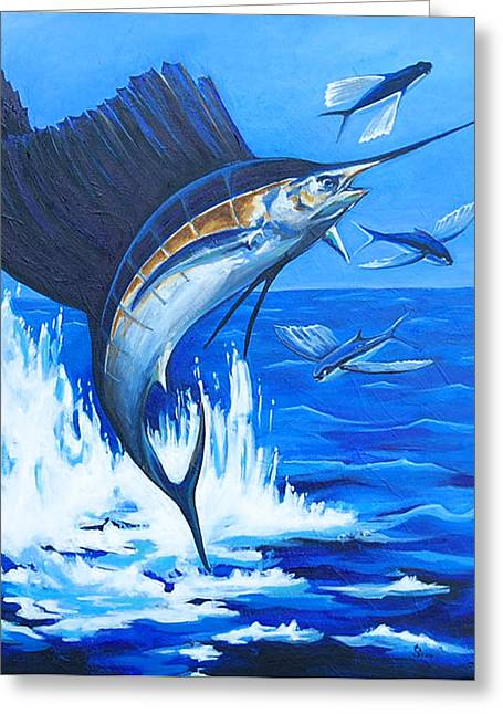 Black Marlin Paintings Greeting Cards - The Chase Greeting Card by Sandra Camper