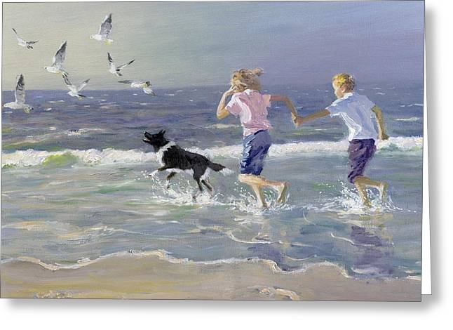Sea Gulls Greeting Cards - The Chase Greeting Card by William Ireland