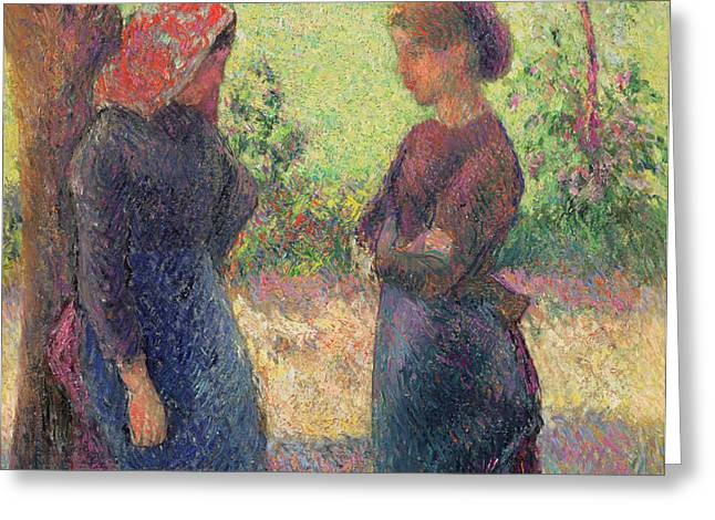 The Chat Greeting Card by Camille Pissarro