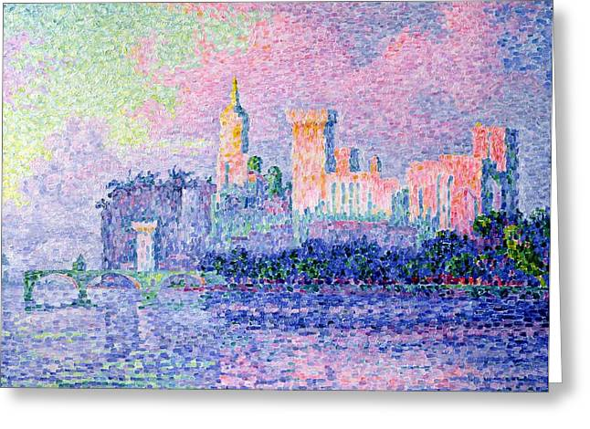 Palace Bridge Greeting Cards - The Chateau des Papes Greeting Card by Paul Signac