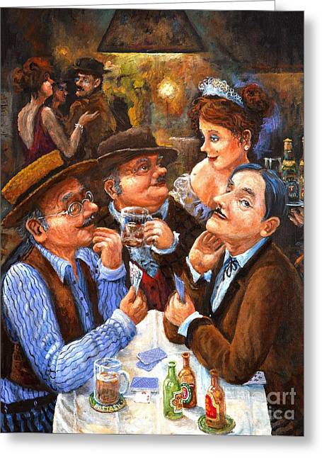 Waitress Paintings Greeting Cards - The Cheater Greeting Card by Igor Postash