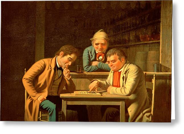The Checker Players Greeting Card by George Caleb Bingham