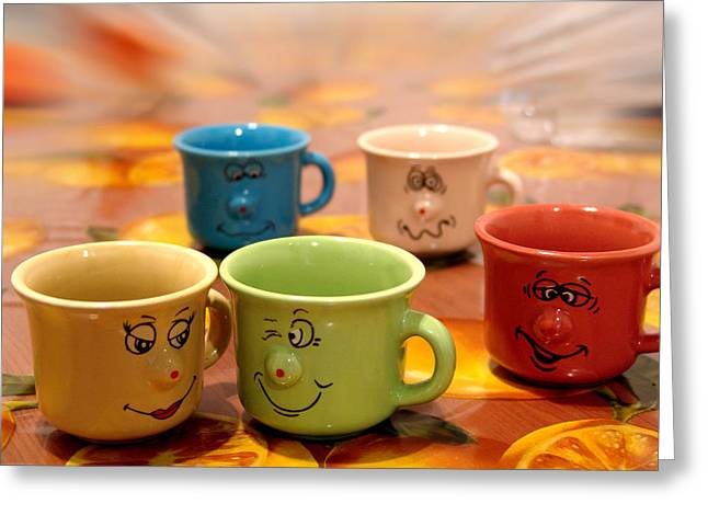 Coffe Greeting Cards - The cheerful cups Greeting Card by Alessandro Della Pietra