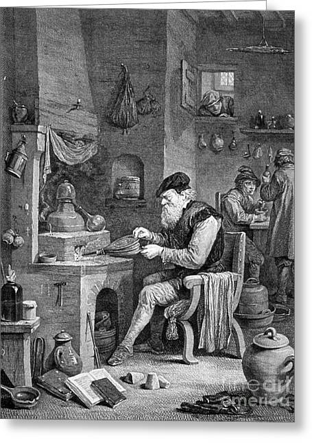 Basement Greeting Cards - The Chemist, 17th Century Greeting Card by Science Source