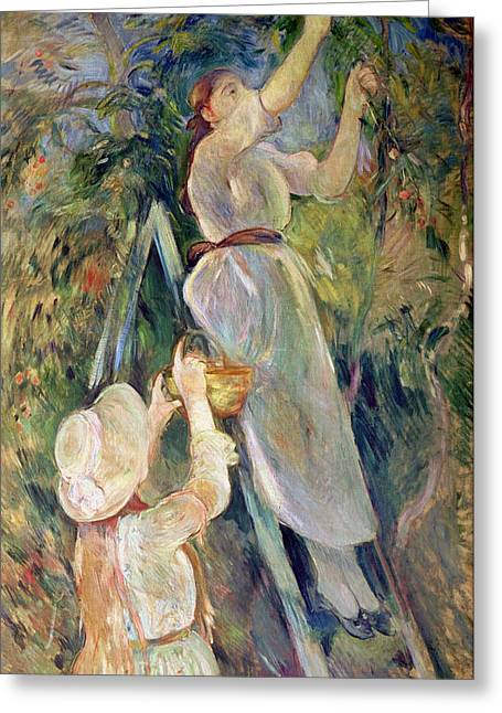 Reach Greeting Cards - The Cherry Picker Greeting Card by Berthe Morisot