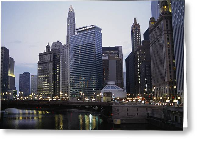 River Of Life Greeting Cards - The Chicago River And Buildings Greeting Card by Paul Damien