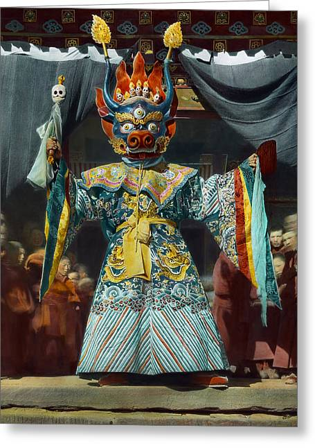 Mixed Age Range Greeting Cards - The Chief Dancer Impersonates King Greeting Card by Dr. Joseph F. Rock