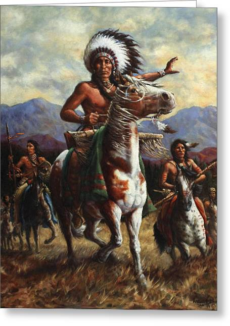 Native-american Greeting Cards - The Chief Greeting Card by Harvie Brown