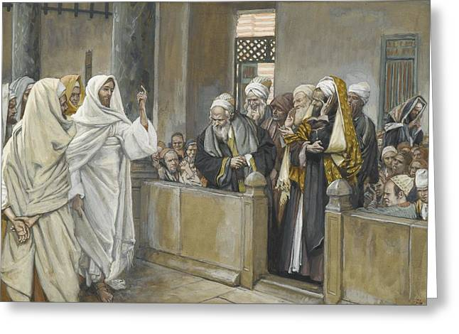 Questioning Greeting Cards - The Chief Priests Ask Jesus by What Right Does He Act in This Way Greeting Card by James Jacques Joseph Tissot