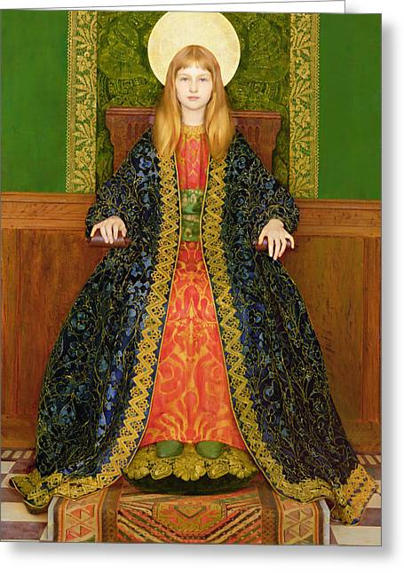 Golden Greeting Cards - The Child Enthroned Greeting Card by Thomas Cooper Gotch