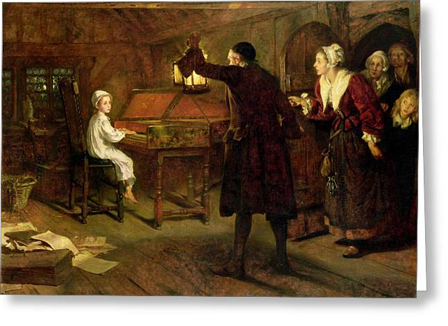 Lesson Greeting Cards - The Child Handel Discovered by his Parents Greeting Card by Margaret Isabel Dicksee