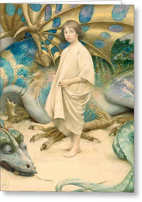Fairies Greeting Cards - The Child in the World Greeting Card by Thomas Cooper Gotch