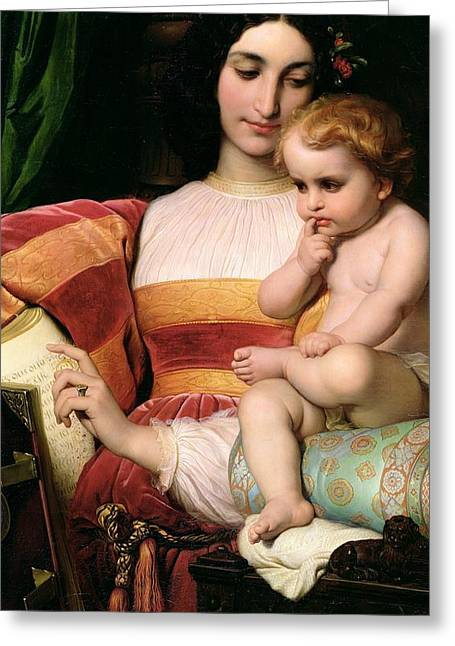 Cushion Paintings Greeting Cards - The Childhood of Pico della Mirandola Greeting Card by Hippolyte Delaroche