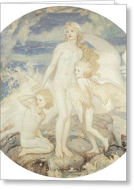 Swan Fantasy Art Greeting Cards - The Children of Lir Greeting Card by John Duncan