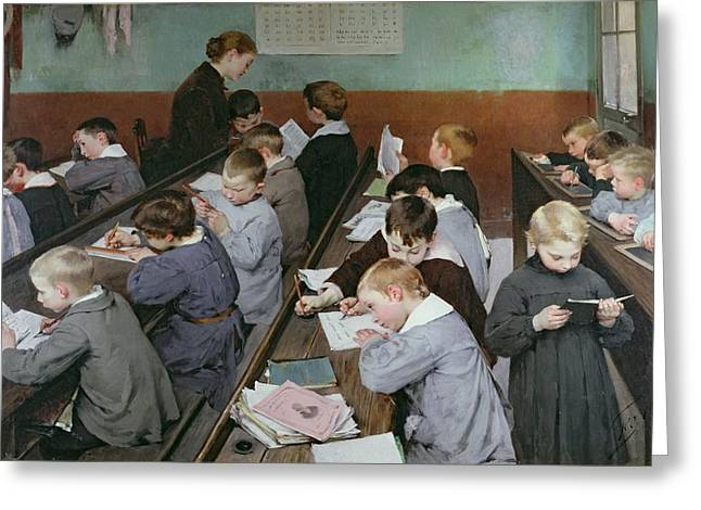 Desks Greeting Cards - The Childrens Class Greeting Card by Henri Jules Jean Geoffroy