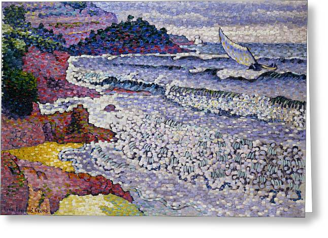 Yachting Greeting Cards - The Choppy Sea Greeting Card by Henri-Edmond Cross
