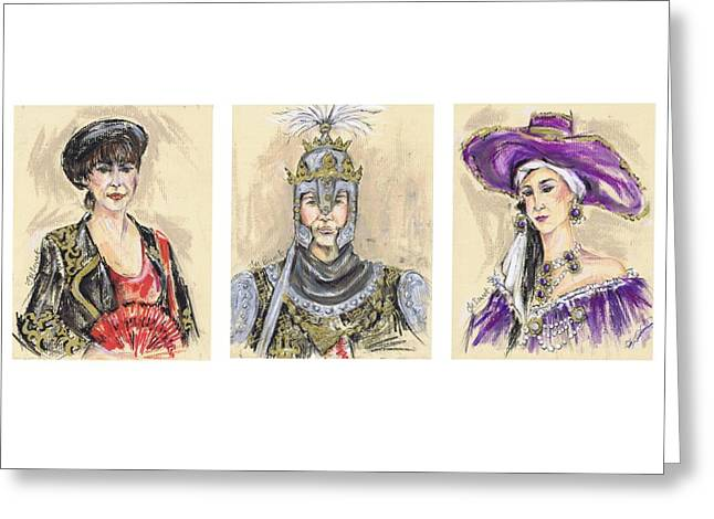 Procession Framed Prints Greeting Cards - The Christian Groups of Mojacar or Los Cristianos de Mojacar Greeting Card by Jill Bennett