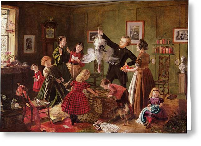 Winters Greeting Cards - The Christmas Hamper Greeting Card by Robert Braithwaite Martineau