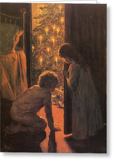Male Greeting Cards - The Christmas Tree Greeting Card by Henry Mosler