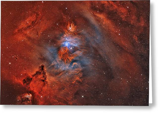 Colorful Cloud Formations Greeting Cards - The Christmas Tree Nebula, Cone Nebula Greeting Card by Rolf Geissinger