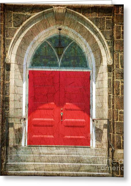 Evangelical Greeting Cards - The Church Door in Red Greeting Card by Paul Ward