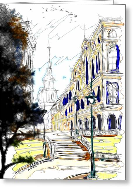 Small Towns Greeting Cards - The Church in the Middle of Town Greeting Card by Cheryl Young