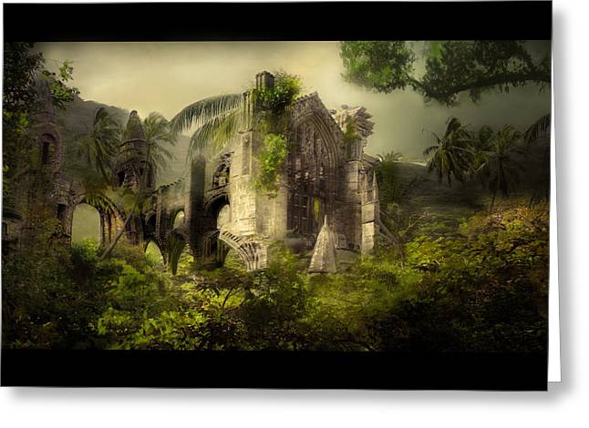 Jungle Greeting Cards - The Church Greeting Card by Karen H