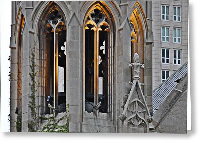 The Church Tower Greeting Card by Mary Machare