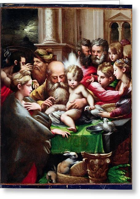 The Circumcision Greeting Card by Francesco Mazzola Parmigianino