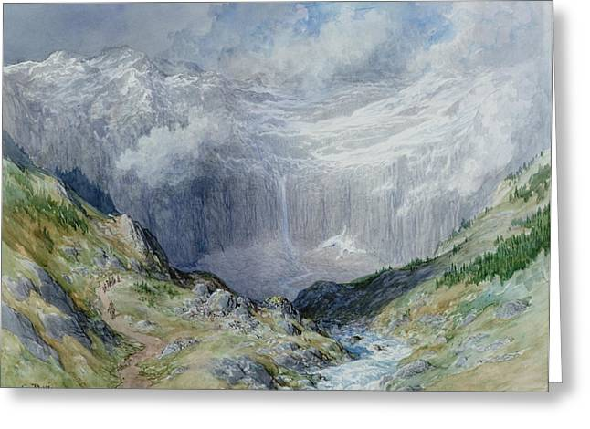 Mountain Valley Paintings Greeting Cards - The Cirque at Gavarnie Greeting Card by Gustave Dore