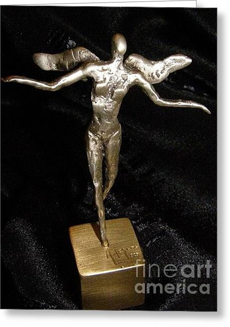 Silver Sculptures Greeting Cards - The City Fairy  Greeting Card by Darko Beranovic