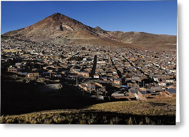 Bolivia Greeting Cards - The city of Potosi and Cerro Rico. Republic of Bolivia. Greeting Card by Eric Bauer