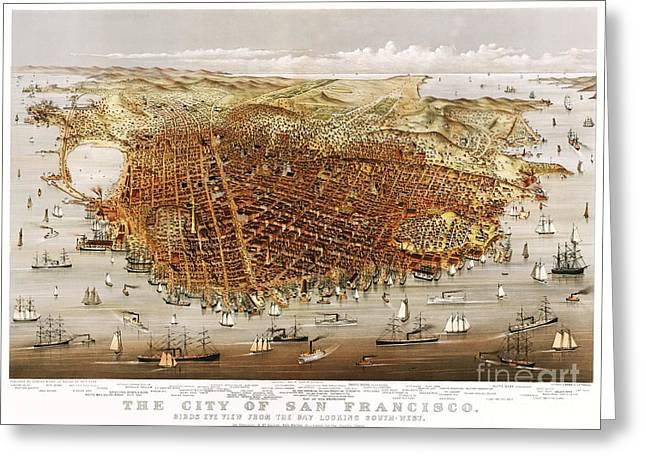 San Francisco Bay Drawings Greeting Cards - The City of San Francisco Greeting Card by Pg Reproductions