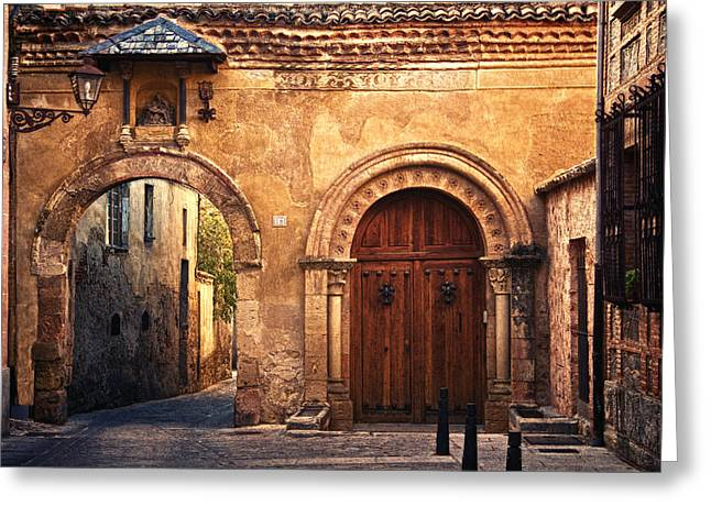 Old Street Greeting Cards - The Claustra Gate in Segovia Greeting Card by Levin Rodriguez
