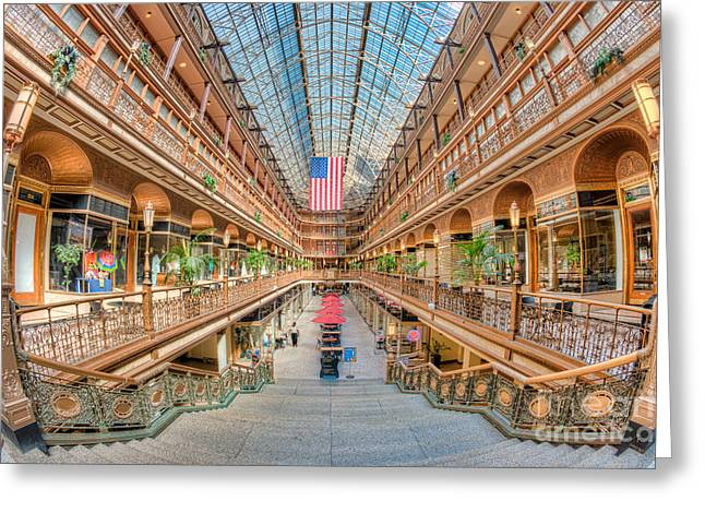 Hyatt Hotel Greeting Cards - The Cleveland Arcade III Greeting Card by Clarence Holmes
