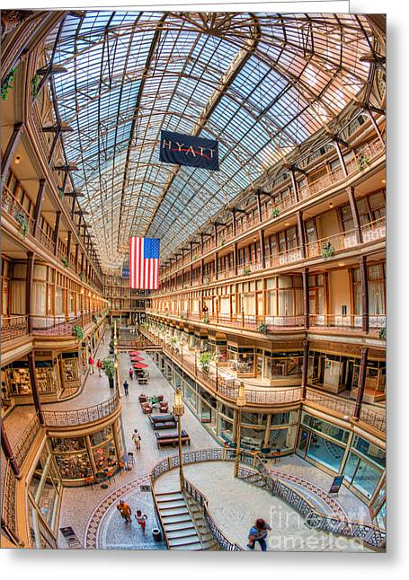 Hyatt Hotel Greeting Cards - The Cleveland Arcade IV Greeting Card by Clarence Holmes