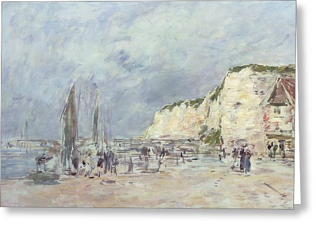 Cliffs And Houses Greeting Cards - The Cliffs at Dieppe and the Petit Paris Greeting Card by Eugene Louis Boudin