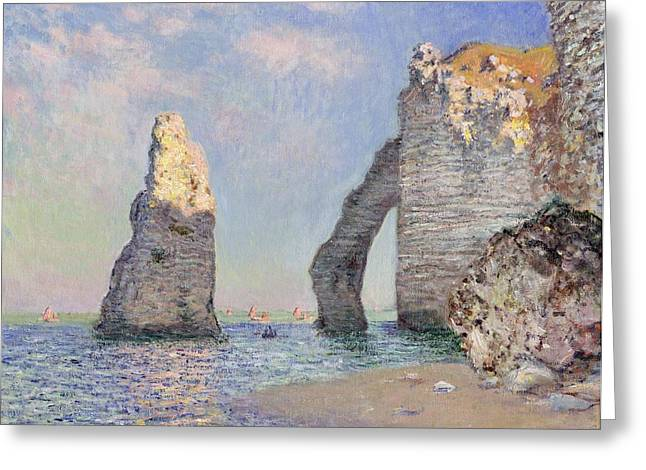Calm Seas Greeting Cards - The Cliffs at Etretat Greeting Card by Claude Monet